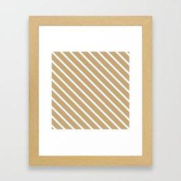 Chai Tea Diagonal Stripes Framed Art Print