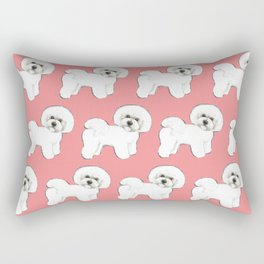 Bichon Frise on coral Rectangular Pillow