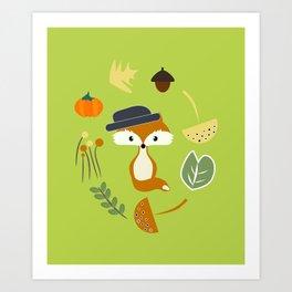 Cute fox in autumn II Art Print