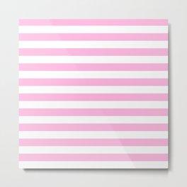 Stripes (Pink & White Pattern) Metal Print