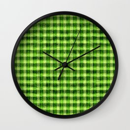 Lime Green and Yellow Gingham Faux Velvet Wall Clock