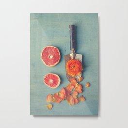 Grapefruit and Flowers Metal Print
