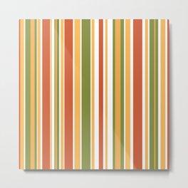 Retro Stripes - Mid Century Modern 50s 60s 70s Pattern in Green, Orange, Yellow, and White Metal Print