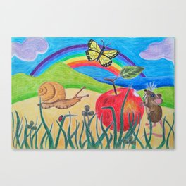 Little Garden Friends Snack Time Canvas Print