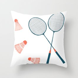 Vintage Badminton Print in blue and red Throw Pillow