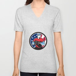 American Baseball Pitcher USA Flag Icon Unisex V-Neck