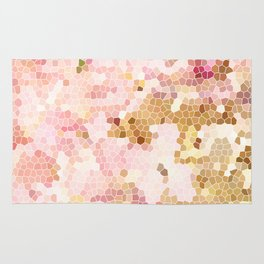 Flower Mosaic Millennial Pink and Golden Yellow Abstract Art | Honey Comb | Geometric Rug