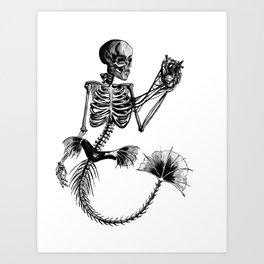 Mermaid Skeleton Art Print