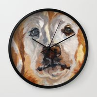 gemma correll Wall Clocks featuring Gemma the Golden Retriever by Barking Dog Creations Studio