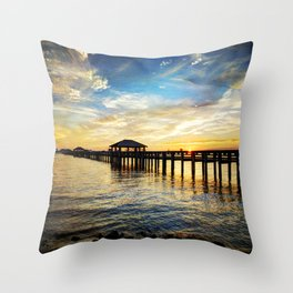 Biloxi Bay Sunset Throw Pillow