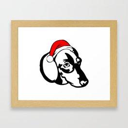 Dachshund Dog with Christmas Santa Hat Framed Art Print