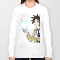 castiel Long Sleeve T-shirts featuring Castiel by buttsp8jr
