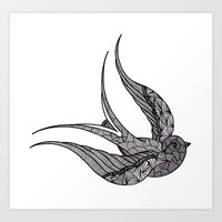 swallow Art Prints featuring SWALLOW by silb_ck