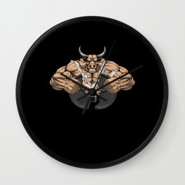 Weightlifter Musketeer Weight Training Motif Wall Clock