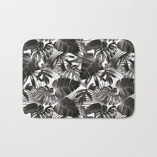palm leaves grey seamless pattern Bath Mat