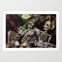 Skeleton Tea Party Art Print