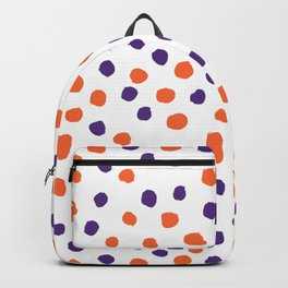 Orange and purple clemson polka dots university college alumni football fan gifts Backpack