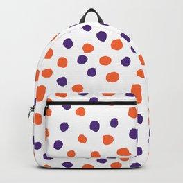 Orange and purple clemson polka dots university college alumni football fan gifts Backpack