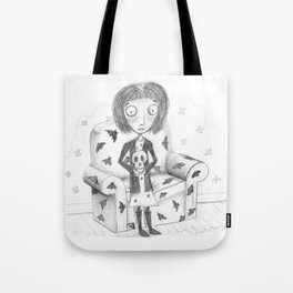 Girl and Skull Pencil Drawing by Emily Hunter-Higgins Tote Bag
