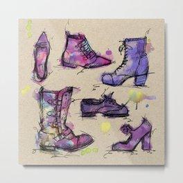 Sketchy Shoes Metal Print
