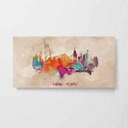 New York City Skyline  colored Metal Print