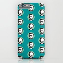 Edgar Allan Poe-ka Dots Teal iPhone Case