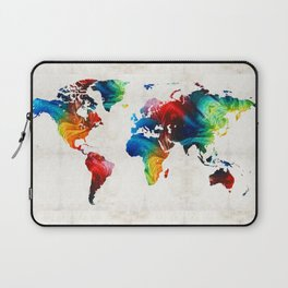 World Map 19 - Colorful Art By Sharon Cumming Laptop Sleeve