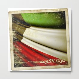 Grunge sticker of Kuwait flag Metal Print