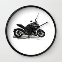 ducati Wall Clocks featuring Ducati Diavel 2013 by Elias Silva Photography