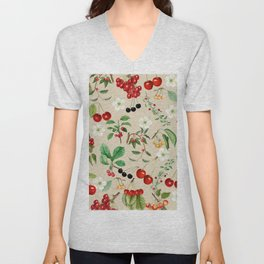 Cherries On Beige Background Unisex V-Neck