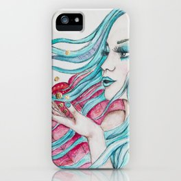 Watercolor mermaid fantasy art iPhone Case