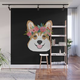 Corgi head floral crown dog breed gifts for welsh corgis Wall Mural