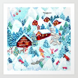 Swiss village in the snow, log cabins, snow days, Alpine watercolor painting by Magenta Rose Designs Art Print