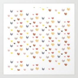 Cat Family for J&K #5 (Slanted Cats) Art Print