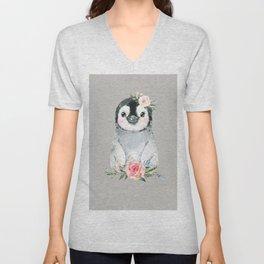 Penguin with Rose Unisex V-Neck