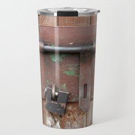 Iron sliding bolt unlocked and padlock Travel Mug