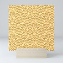 Japanese Waves (White & Orange Pattern) Mini Art Print