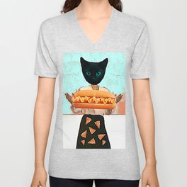 Let there be hot dogs and pizza rain Unisex V-Neck