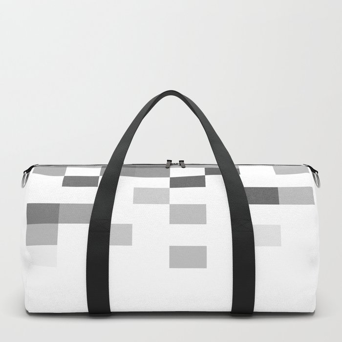 Gray Scale In Pixels Duffle Bag