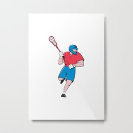 Lacrosse Player Crosse Stick Running Isolated Cartoon Metal Print