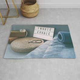 Yoga fitness class gym sign Rug