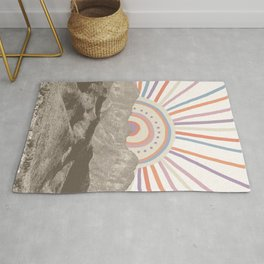 Bohemian Tribal Sun UP / Abstract Vintage Mountain Happy Summer Vibes Retro Colorful Pastel Artwork Rug