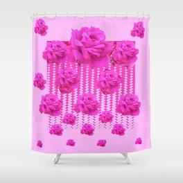 MODERN PINK ART CERISE PINK ROSE GARDEN ABSTRACT Shower Curtain