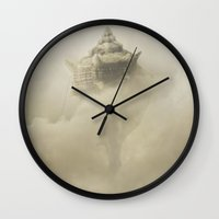 castle in the sky Wall Clocks featuring Castle in the sky by Jaroslaw Blaminsky