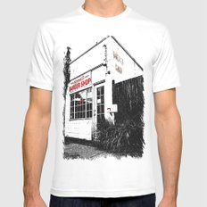 Norma's Barbershop  MEDIUM White Mens Fitted Tee