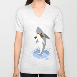 This is a Shark Attack Unisex V-Neck