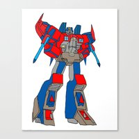 transformers Canvas Prints featuring Transformers-Optimus by green.lime
