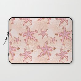 Starfish and Coral Pink Pastel Pattern Laptop Sleeve