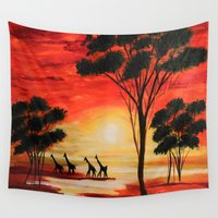 african Wall Tapestries featuring African sunset by maggs326