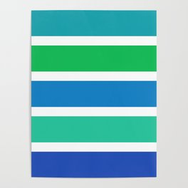 Green and blue stripes Poster
